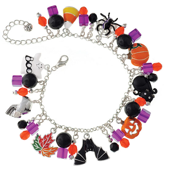 Orange & Purple Pizzazz Halloween Charm Bracelet