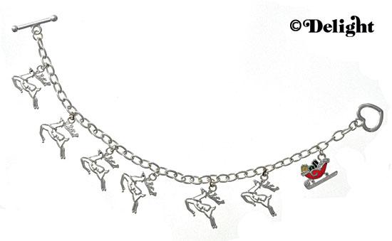 Santa & His Reindeer Charm Bracelet