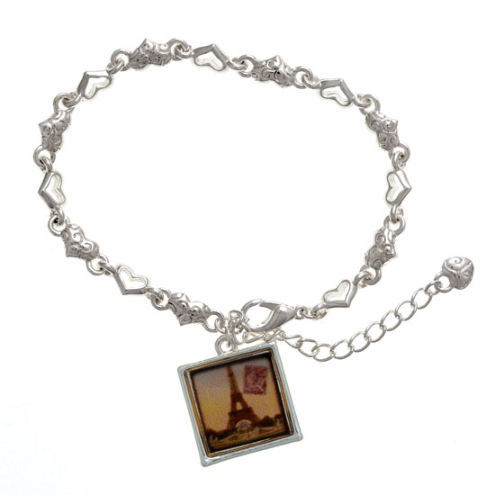 Paris Lover's Eiffel Tower Silver Framed Charm Bracelet