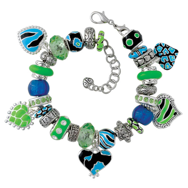 Teal & Lime Heart Charm Bracelet
