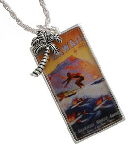 Hawaii Surfer Silver Framed Pendant Necklace