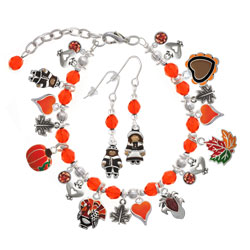 Thanksgiving Day Orange Beaded Charm Bracelet