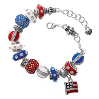 Patriotic Pizzazz - Triple Plated Large Hole Bead Bracelet