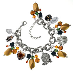 Green & Gold Thanksgiving Day Charm Bracelet