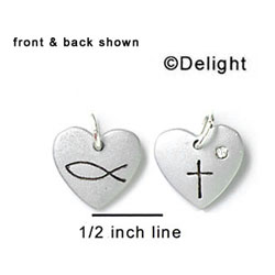 N1006+ tlf - Christian Cross & Fish in Heart - Silver Resin Charm (6 Charms per package)