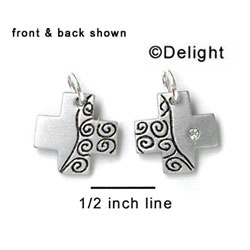 N1007+ tlf - Scroll Decorated Cross - Silver Resin Charm (6 Charms per package)