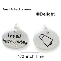 N1026+ tlf - I Need More Cowbell - Silver Resin Charm (6 charms per package)