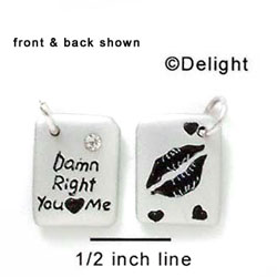 N1039+ tlf - Damn Right You Love Me & Lips - Silver Resin Charm (6 charms per package)
