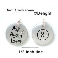 N1051+ tlf - Ask Again Later, Eight Ball - Silver Resin Charm (6 charms per package)