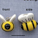 N1109+ tlf - Bumble Bee - 3-D Hand Painted Resin Charm (6 per package)