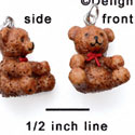 N1114+ tlf - Brown Bear with Red Ribbon - 3-D Hand Painted Resin Charm (6 per package)