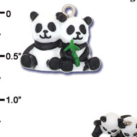 N1182+ tlf - Best Friends Panda Bears - 3-D Hand Painted Resin Charm (6 per package)