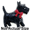 3389* tlf - Medium Black Scottie Dog with Red Bow - Resin Decoration (12 per package)