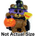 3572 ctlf - Bear Witch holding Broom & Trick or Treat Jack o'Lantern - Resin Decoration (12 per package)