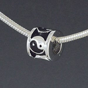 SS1023 tlf - Yin Yang Spacer - Sterling Silver Large Hole Bead (1 per package)