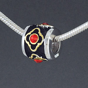 SS1035 tlf - Gold Alhambra Diamond with Red Light Siam Swarovski Crystals - Sterling Silver Large Hole Bead (1 per package)
