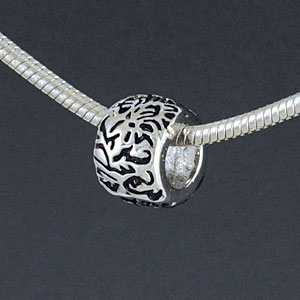 SS1040 tlf - Chrysanthemum Flower Pattern - Sterling Silver Large Hole Bead (1 per package)