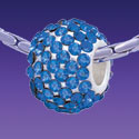 BT1175 tlf - Blue Sapphire Crystal Super Sparkle Barrel - Triple Silver Plated Large Hole Bead (2 per package)