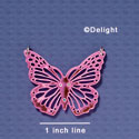 A1004 tlf - Large Cut Out Butterfly with Crystals - Mirror Pink - Acrylic Pendant (6 per package)