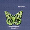 A1006 tlf - Large Cut Out Butterfly with Crystals - Mirror Lime Green - Acrylic Pendant (6 per package)