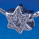 B1323 tlf - Beaded Star of David - Im. Rhodium Plated Large Hole Bead (6 per package)