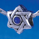 B1325 tlf - Star of David with Blue Swarovski Crystal - Im. Rhodium Plated Large Hole Bead (6 per package)