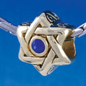B1326 tlf - Star of David with Blue Swarovski Crystal - Gold Plated Large Hole Bead (6 per package)