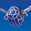 B1327 tlf - Blue Hamsa Hand - Im. Rhodium Plated Large Hole Bead (6 per package)