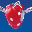 B1354 tlf - Red Enamel Strawberry with Swarovski Crystal - Im. Rhodium Plated Large Hole Bead (2 per package)