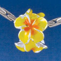 B1456 tlf - Hot Yellow & Orange Plumeria Flowers - Silver Plated Large Hole Bead (6 per package)