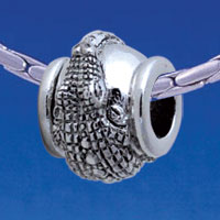 B1720 tlf - Antiqued Alligator - Im. Rhodium Plated Large Hole Bead (6 per package)