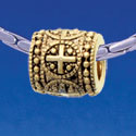 B1728 tlf - Greek Cross Dot Pattern - Gold Plated Large Hole Bead (2 per package)