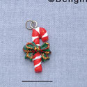 7410* tlf - Candy Cane with Green Bow - Resin Charm (Left & Right) (12 per package)
