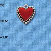 C1032 tlf - Red Heart with Beaded Border - Silver Plated Charm (6 per package)