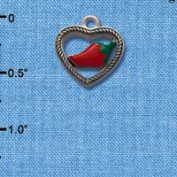 C1064* tlf - Heart Rope Jalapeno - Im. Rhodium Plated Charm (left & right) (6 per package)