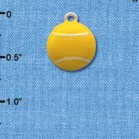 C1068 ctlf - Tennis Ball - Silver Plated Charm (6 per package)