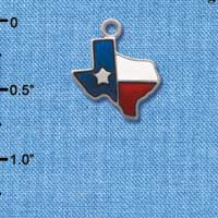 C1123 tlf - Texas Lone Star Glass - Silver Plated Charm (6 per package)