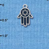 C1231 ctlf - Hand Star Of David - Silver Plated Charm (6 per package)