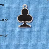 C1249 ctlf - Card Suit Club - Silver Plated Charm (6 per package)