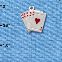 C1254 ctlf - Card Hand Hearts - Silver Plated Charm (6 per package)