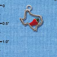 C1292 tlf - Open Texas with Jalapeno Pepper- Silver Plated Charm (6 per package)