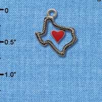 C1293 ctlf - Texas Outline Rope Heart - Silver Plated Charm (6 per package)