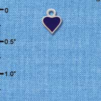 C1326+ ctlf - Mini 2-D Purple Heart - Silver Plated Charm (6 per package)