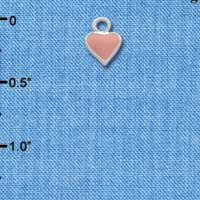 C1328+ tlf - Mini 2-D Pink Heart - Silver Plated Charm (6 per package)