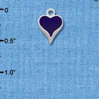 C1329 tlf - Small Long Purple Heart - Silver Plated Charm (6 per package)