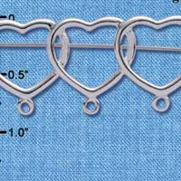 C1348 tlf - Silver Three Hearts Charm Pin with Loops (6 per package)