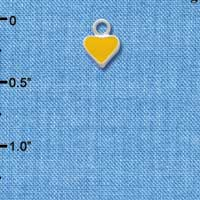 C1390+ ctlf - Mini 2-D Yellow Heart - Silver Plated Charm (6 per package)
