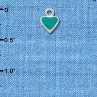 C1391+ tlf - Mini 2-D Teal Heart - Silver Plated Charm (6 per package)