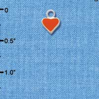 C1392+ tlf - Mini 2-D Orange Heart - Silver Plated Charm (6 per package)