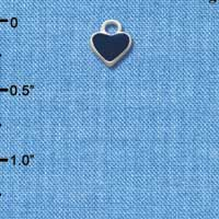 C1394+ tlf - Mini 2-D Blue Heart - Silver Plated Charm (6 per package)